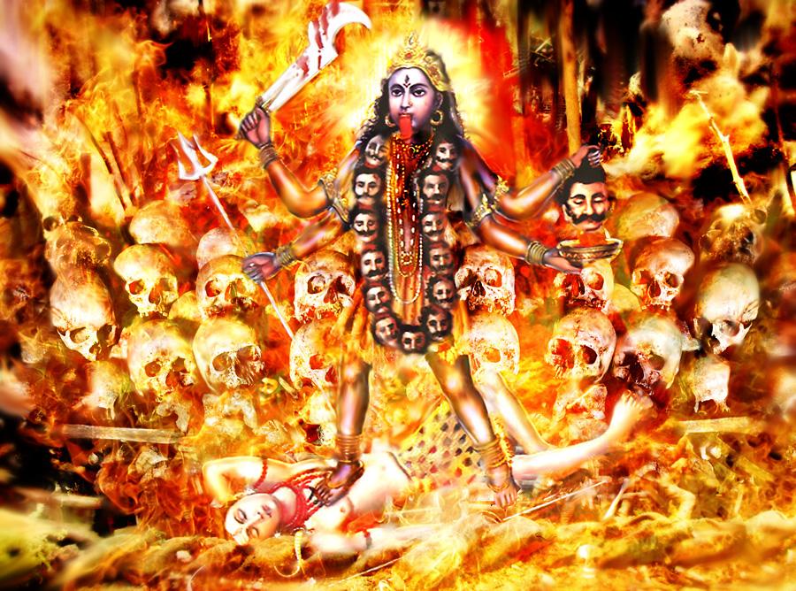 Бой с богиней Кали, грозной и беспощадной